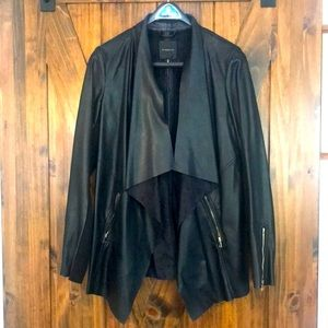 Back faux leather waterfall fall jacket